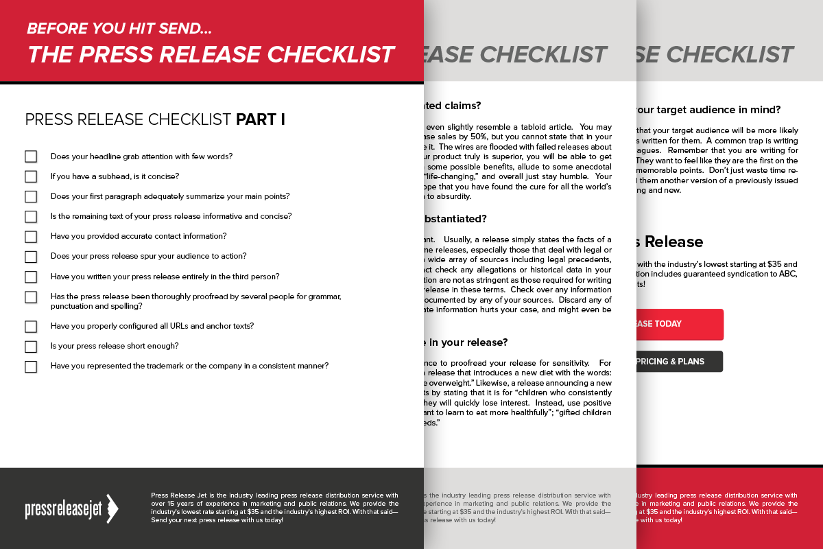 Press Release Checklist