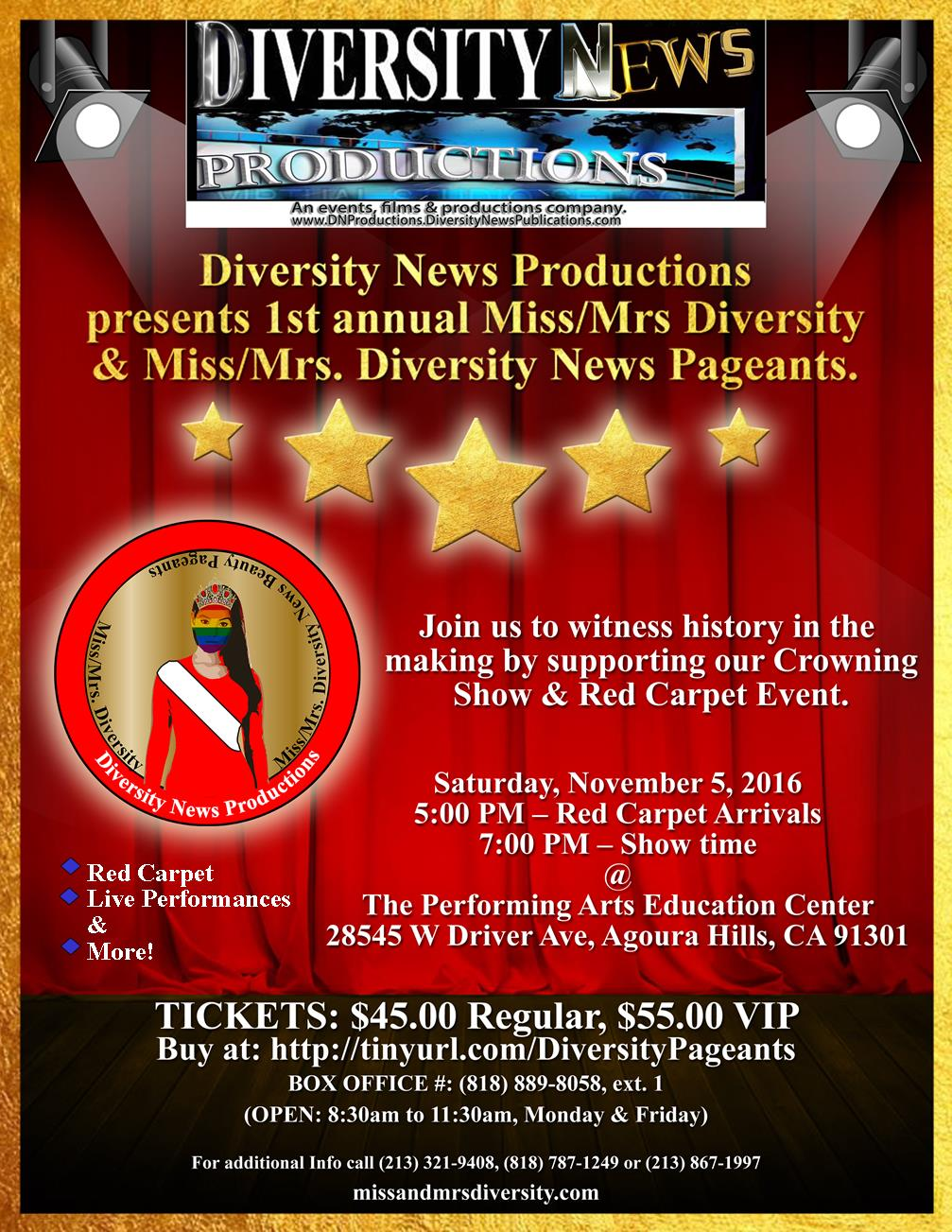 Diversity News Productions presents it's 1st annual Ms. Diversity & Ms. Diversity News Beauty Pageants Set for November 5, 2016.