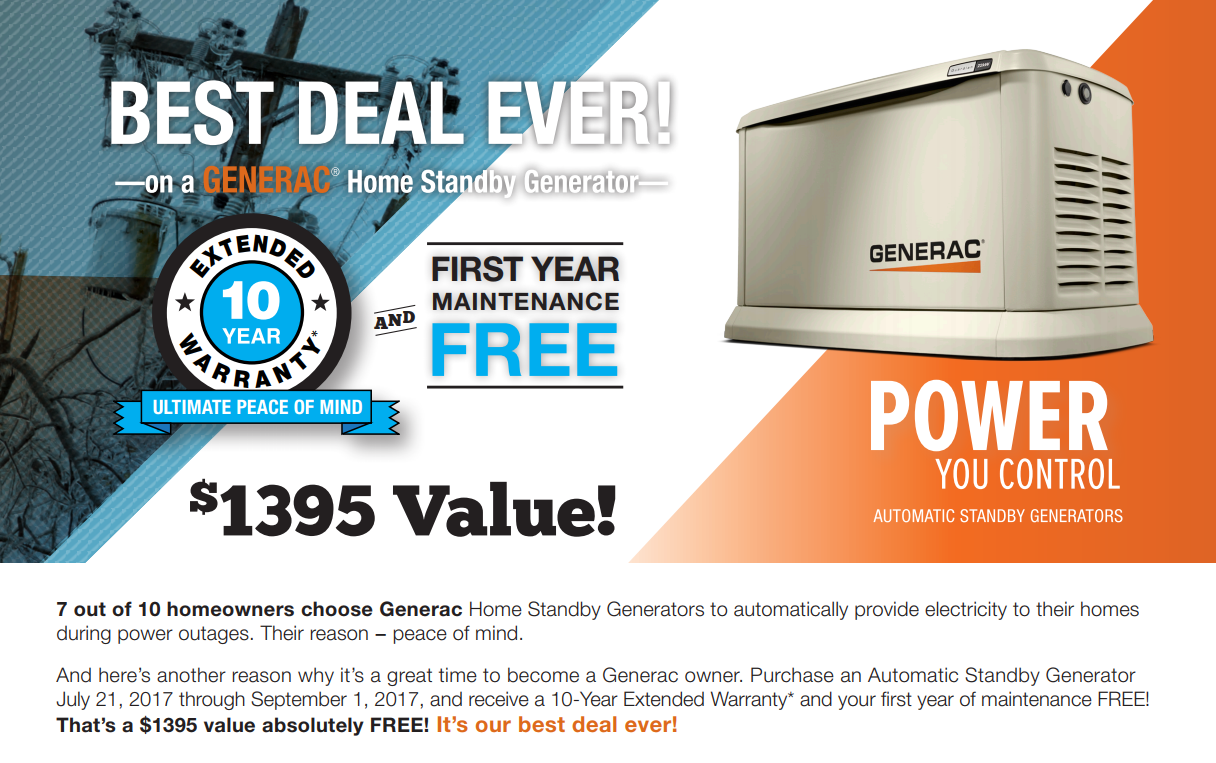 Norwall PowerSystems: Free 10-Year Extended Warranty and 1-Year Maintenance Offered on Guardian Home Standby Generators