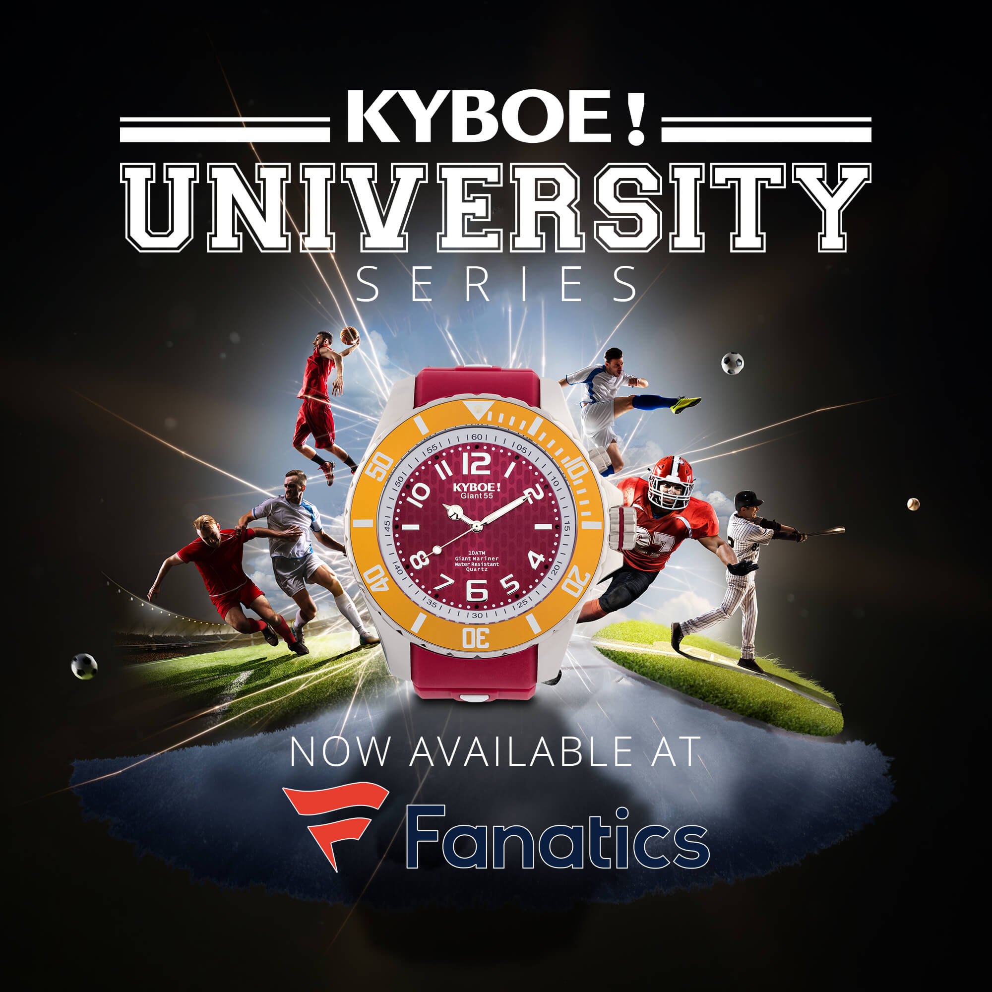 Just in Time for Football Season, Fanatics adds the Kyboe! University Collection of watches to their lineup of products