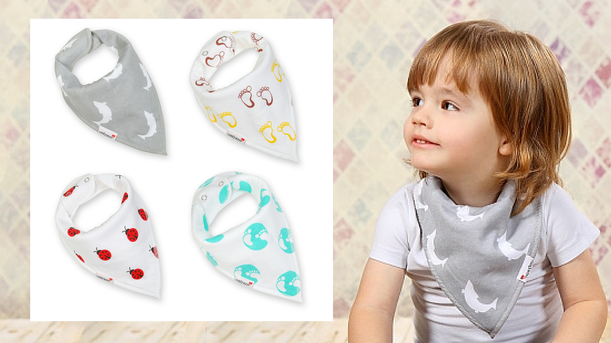 Comfywave announces gift sets of four bandana baby bibs