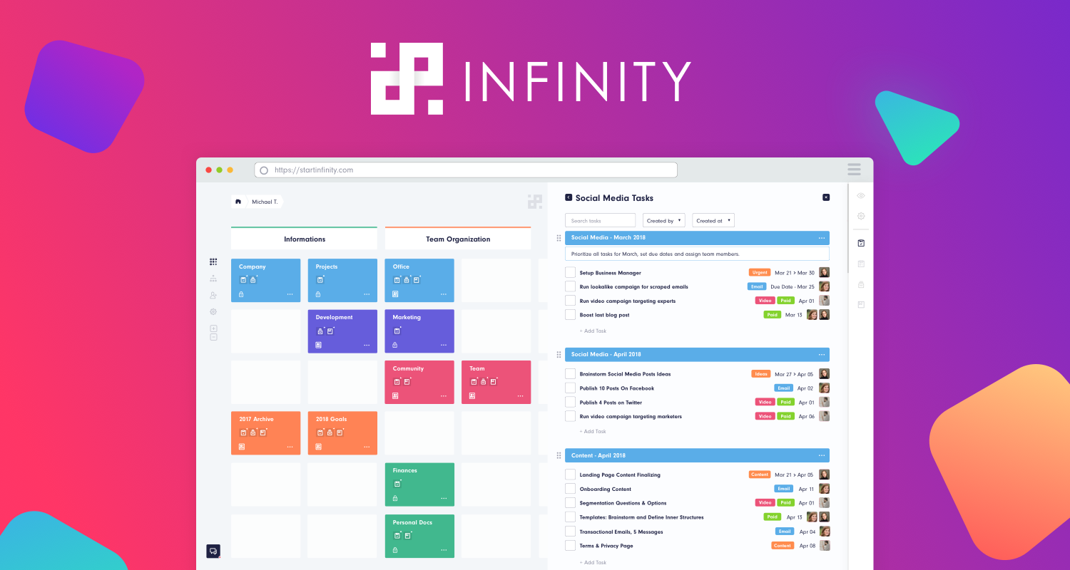 Infinity - The Ultra Flexible Project Management Tool With The Eye-candy UX Launches The Early Beta This May