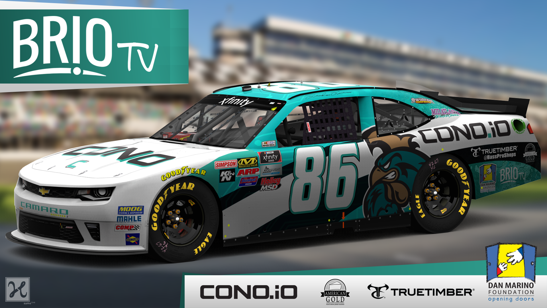 Brio TV Teams up with NASCAR Xfinity Series Brandon Brown #86 and NFL Hall of Fame Quarterback Dan Marino's Foundation