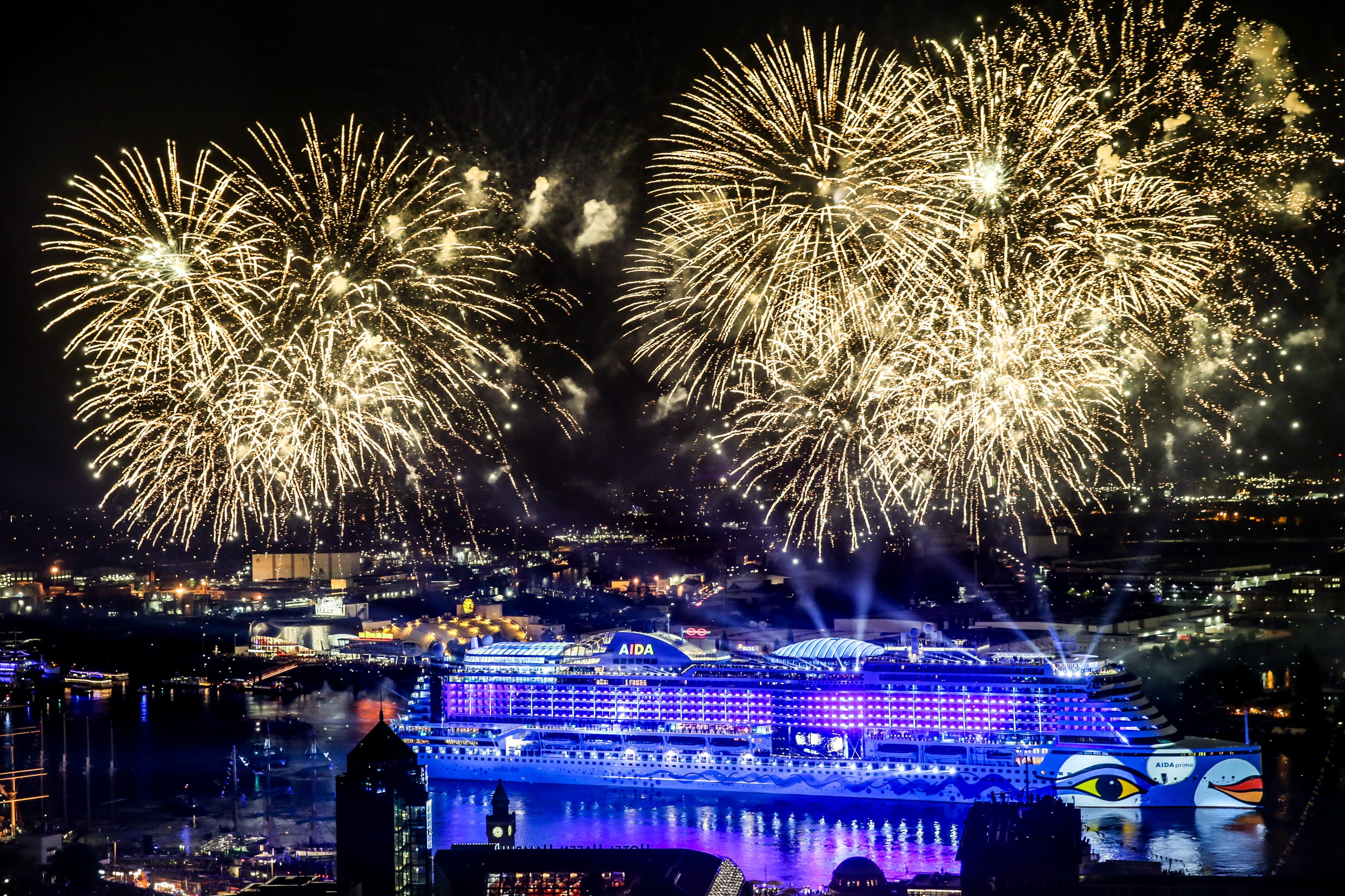 Spectacular cruise ship christening of the new AIDAprima during the 827. PORT ANNIVERSARY HAMBURG