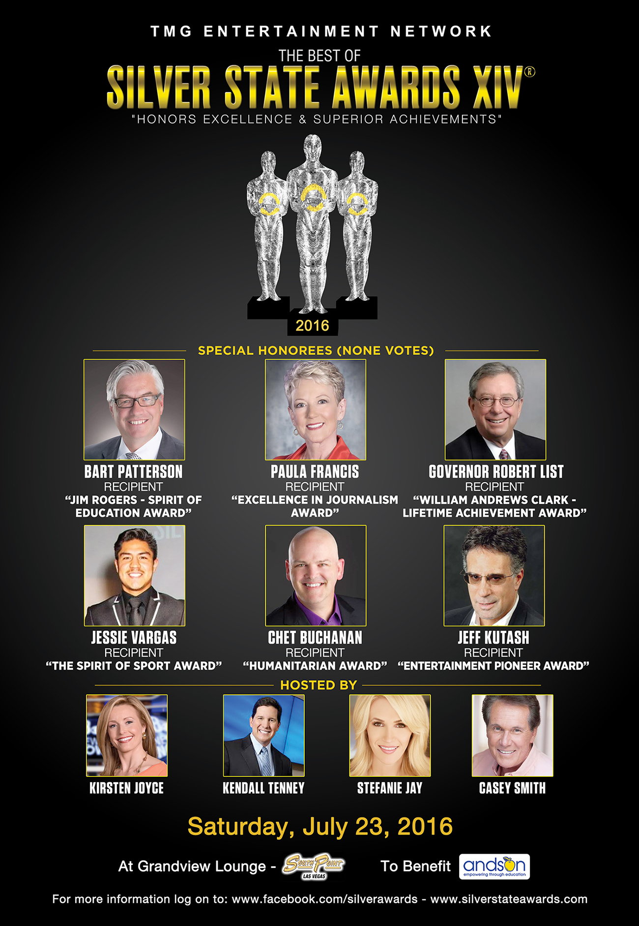 The TMG Entertainment Network, Silver State Awards Presented the 2016 Honorary Awards to Paula Francis, Chet Buchanan, Bart Patterson, and Jeff Kutash at the Award Ceremonies in Las Vegas