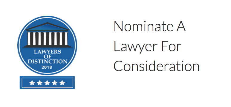 Lawyers of Distinction 2018 Nominations Now Open
