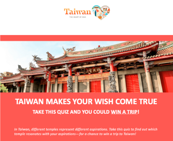 Taiwan Tourism Bureau Announces a Chance to Experience the Heart of Asia