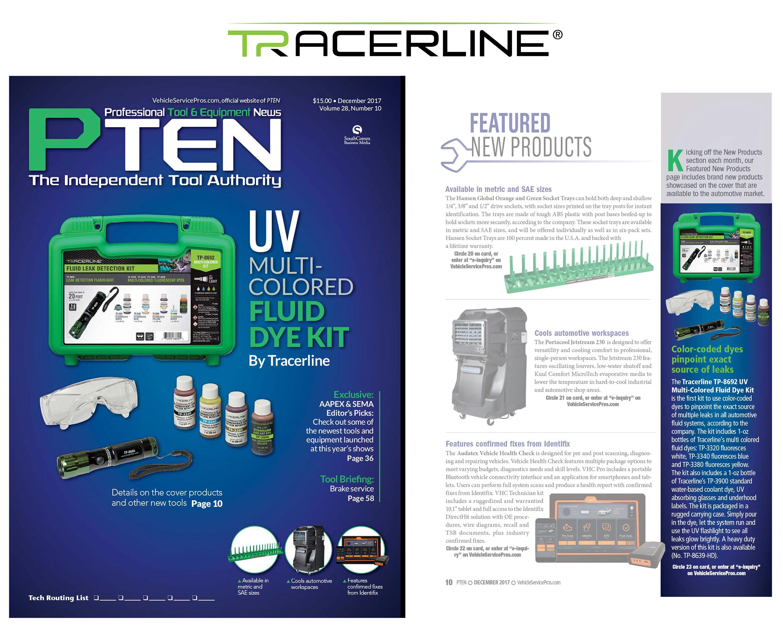 Tracerline's TP-8692 UV Multi-Colored Fluid Dye Kit Featured in PTEN Magazine