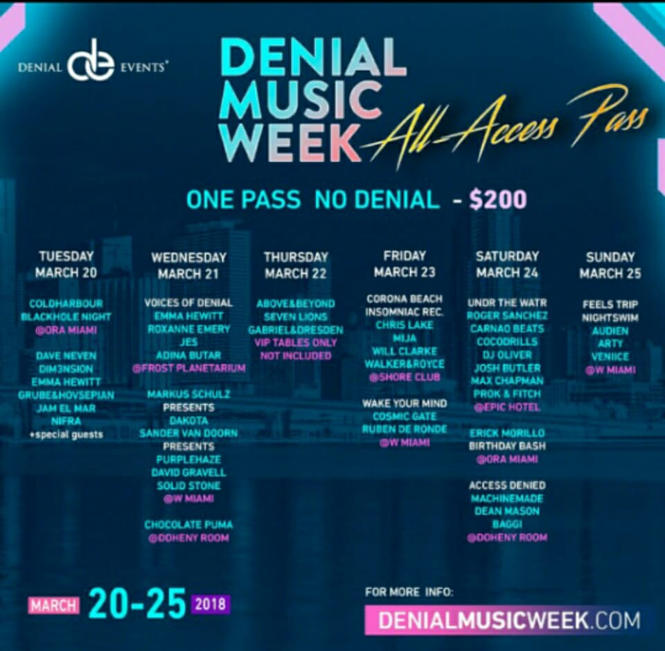 Denial Events Hailed Best Line Up and the Best Deal of Miami Music Week 2018