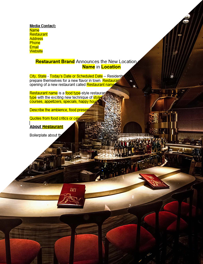 Launch PR Restaurant Press Release
