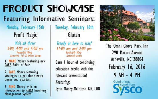 ORCA CEO invited to provide educational seminar to SYSCO customers at product showcase in Ashville, NC